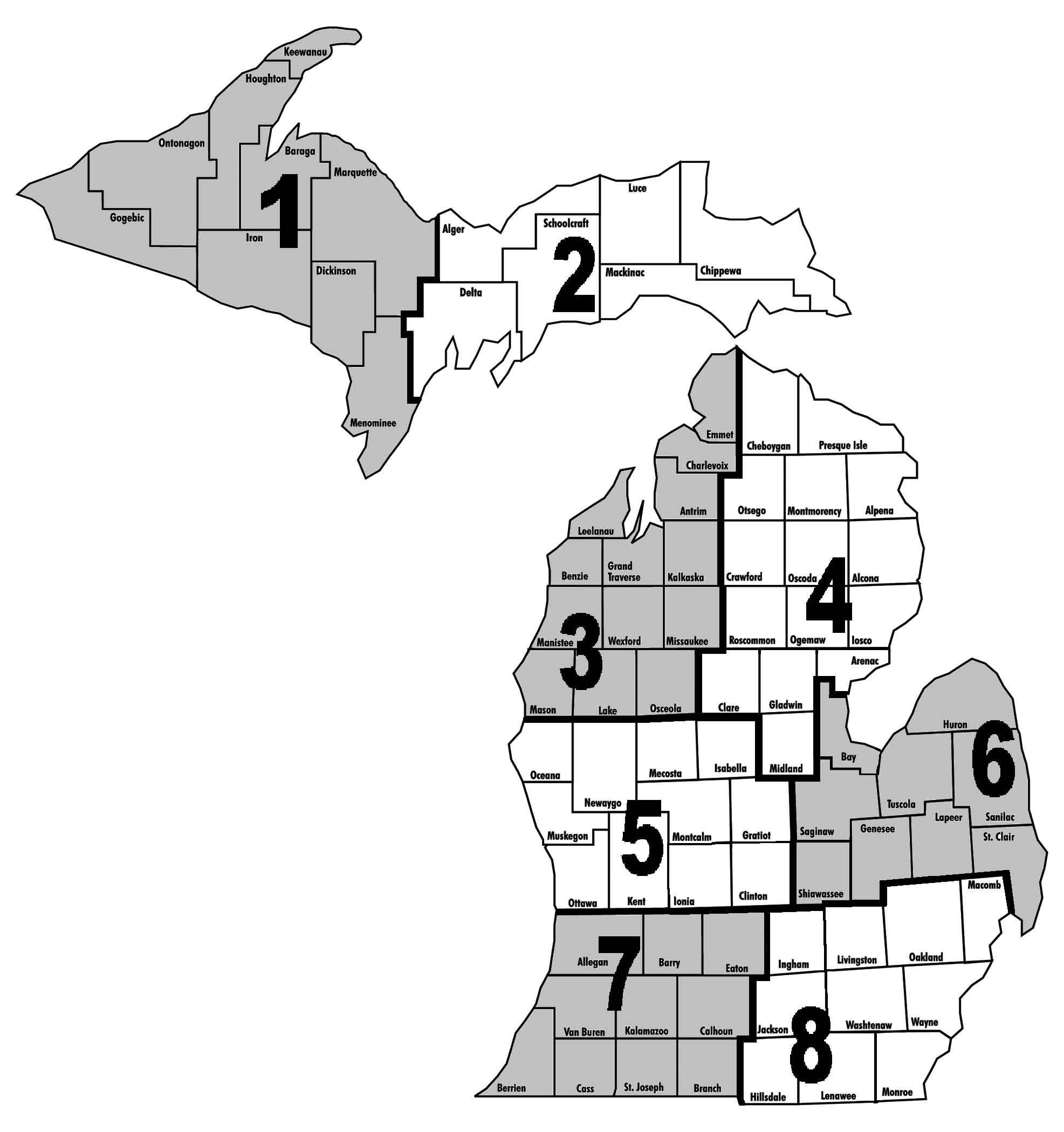 District 2: Vacant District 3: Ronald Vanzee, Hayes Township, Charlevoix County  District 4: Kenneth Gauthier, Sanborn Township, Alpena County